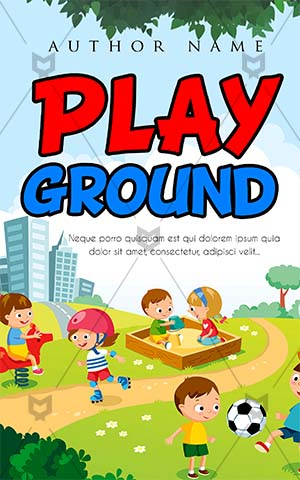 Children-book-cover-kids-playing-interval-village