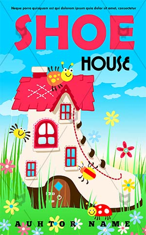 Children-book-cover-kids-story-shoe-garden-home