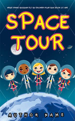 Children-book-cover-kids-space-tour-education-friends