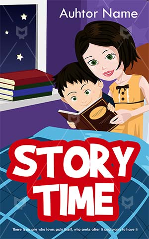 Children-book-cover-mother-bed-story-night-kids-home-work