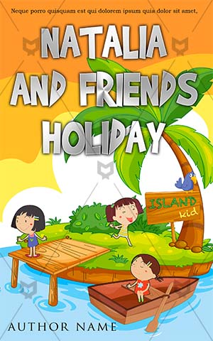 Children-book-cover-kids-playing-girls-cousins-island