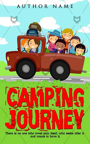 Children-book-cover-camping-riding-cartoon
