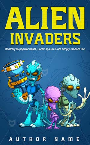 Children-book-cover-Alien-Invaders-Green-Funny-Cartoon-Ufo-Universe-Book-designs-for-kids-Monster-Galaxy