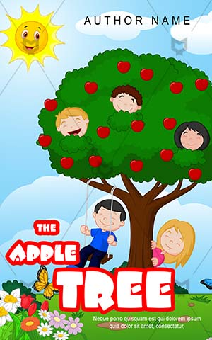 Children-book-cover-Apple-Tree-Kids-Playing-Book-Cover-Story-Butterfly-Playground-Coloring-Happy