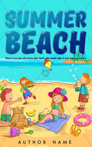 Children-book-cover-Beach-Summer-Sand-Vacation-Making-Castle-Childhood-Preschool-Bucket-Child-Friendship-Playful-Sea