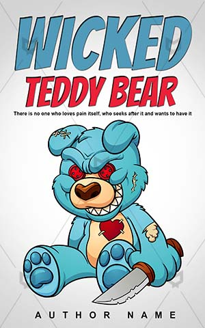 Children-book-cover-Bear-Teddy-Evil-bear-story-design-Wicked-Monsters-Halloween-Book-horror-Cartoon