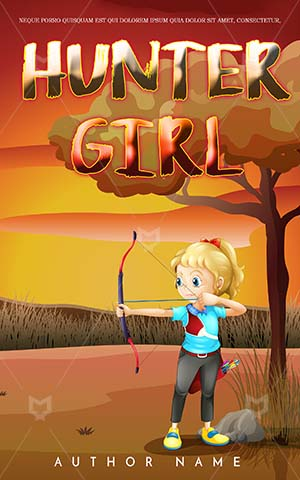 Children-book-cover-Bow-Girl-Arrow-Kids-Illustration-Book-Covers-Little-Hunting-Strong-Jungle-Story-Coloring-For
