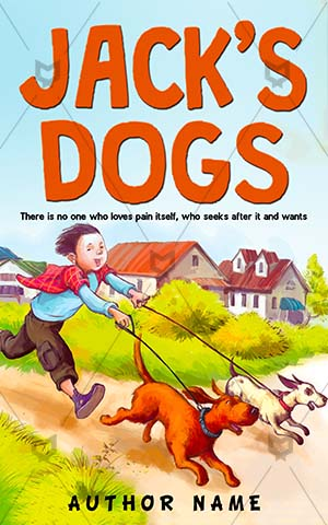 Children-book-cover-Boy-Two-Dogs-story-design-Fun-Vector-Happy-Joy-Outdoor-Friendship-Running-Puppy-Pet