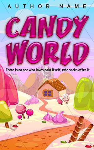 Children-book-cover-Candy-Sweet-World-Illustration-Gingerbread-house-land-Pink-Fantasy-Concept-Lollipop-Dream-Food-Cake