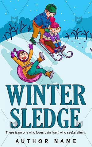Children-book-cover-Fun-Books-for-kids-Illustration-Toboggan-Winter-covers-Cartoon-Kids-Preschool-Sledge-Snow