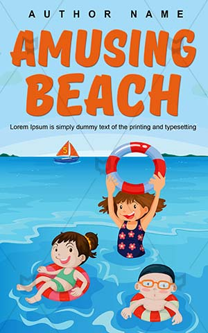 Children-book-cover-Fun-Beach-Kids-Swim-covers-fun-Vector-story-Happiness-Swimming