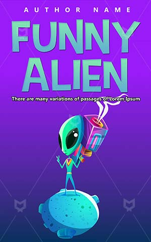 Children-book-cover-Funny-Alien-Gun-Shoot-Vector-Cute-Technology-Cartoon-design-Weapon-Toy-Fun