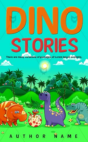Children-book-cover-Funny-Forest-Dinosaur-Cartoon-Dinostory-Green-Dinosaures-Color-Book-design-for-kids-Monster-Jungle