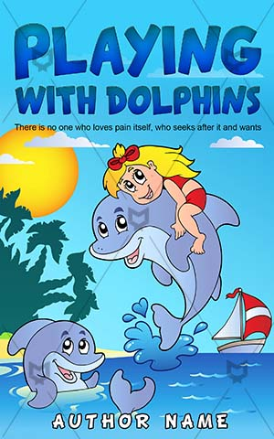 Children-book-cover-Happy-Playing-Cover-kids-play-Ocean-Dolphin-Vector-Dolphins-Pre-made-children's-covers-Drawing-Cartoon