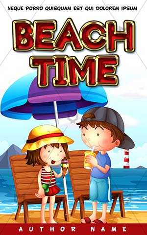 Children-book-cover-Kids-Beach-Playing-In-Umbrella-see-coloring-for-kids-story-front-page-design-books-covers