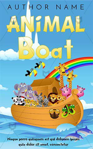 Children-book-cover-Kids-Boat-sea-on-boat-animal-design-for-kids-rainbow