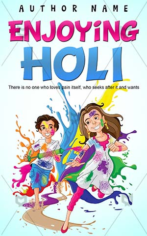Children-book-cover-Kids-Kid-Enjoying-Holi-Book-ideas-for-kids-Color-Fun-Vector-Celebration-Indian-Splash-Festival