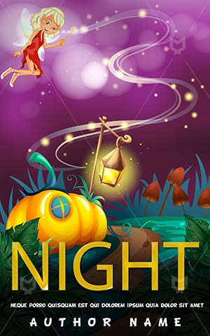 Children-book-cover-Kids-Story-Night-Time-Book-Garden-Flying-Angel-Lantern-Magic