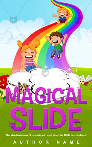 Children-book-cover-Little-Cartoon-Kids-Rainbow-design-Slide-Fun-Vector-Childhood-Funny-Smile