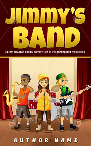 Children-book-cover-Little-Kids-Music-design-Kid-Band-band-Cover-kids-play-Illustration-Talent-Play-Happy