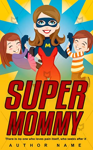 Children-book-cover-Mother-Mom-Super-story-design-Supermom-Vector-Child-Power-Strong-Woman-Superhero-Mommy-Superwoman