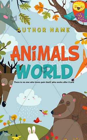 Children-book-cover-Nature-Animal-Tree-Animals-Vector-Cartoon-Funny-Kids-Nice-Story-for-kids-World