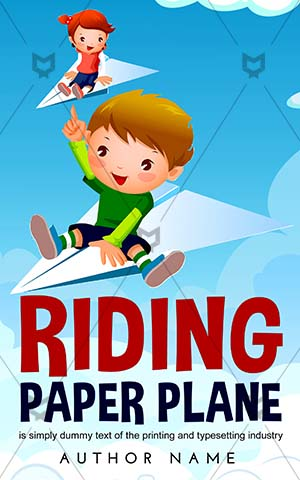 Children-book-cover-Paper-Girl-Flying-Plane-Boy-A-girl-flying-Cartoon-Riding-Childrens-designs-Vector-Travel