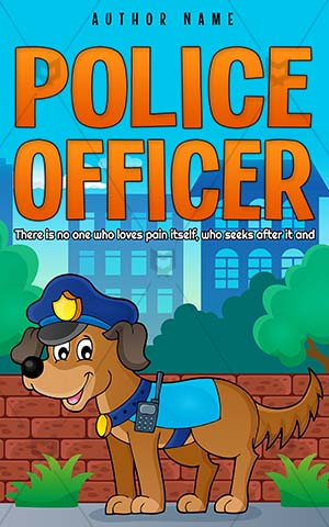 Children-book-cover-Police-dog-Kids-Dog-Vector-Animal-Protection-Safety-Security-Town-Protect-Cap-Guard-Collar-Transmitter