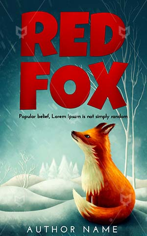 Children-book-cover-Red-Little-Winter-Fox-Illustration-Animal-Cartoon-Childhood-Snow-Fantasy-story-covers-Fairytale