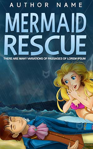 Children-book-cover-Rescue-Woman-Mermaid-helping-Storm-Prince-Lightning-bolts-Beautiful-Fairytale-Books-covers-for-kids