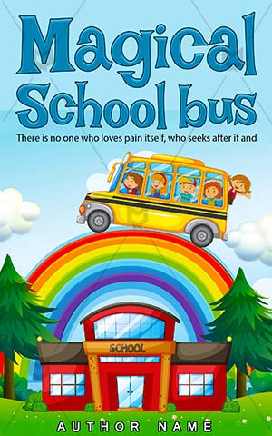 Children-book-cover-School-bus-Kids-Pre-made-children's-covers-Rainbow-Bus-Riding-Vector-Building-Kindergarten-Student-Campus