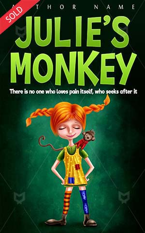 Children-book-cover-Funny-Monkey-Cute-design-Illustration-Fairy-Girl-Young-Smiling-Cheerful-Child-Little-Cartoon