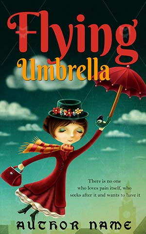Children-book-cover-Umbrella-Flying-Woman-Green-Illustration-kids-books-design-Cartoon-Magic-Lady-Flight-Fairy-Tale-tale-covers
