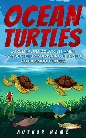 Children-book-cover-Underwater-Turtles-Illustration-Kids-Book-for-kids-Ocean-Beautiful-Clipart-Sea-Swimming-Vector-covers-Beach