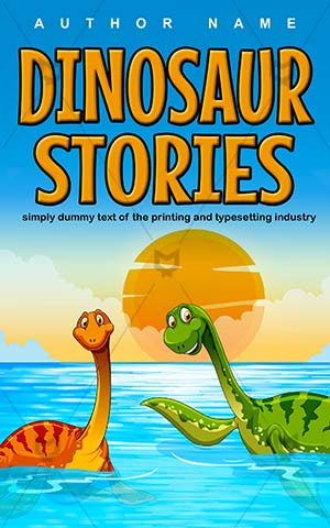 Children-book-cover-Vector-Water-Cute-Animal-Dinosaur-Dinostory-Cartoon-Wildlife-Swim-Reptile-Kids-story-Dino-Prehistoric-Jurassic