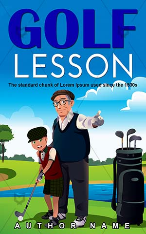 Educational-book-cover-Playing-Teaching-Sport-Leisure-Activity-Cover-kids-play-Illustration-Happy-Boy-design-for-Golf-Happiness-Outdoor