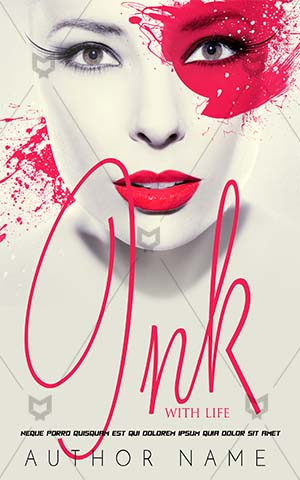 Fantasy-book-cover-ink-pink-lips-face-paint-woman-romance