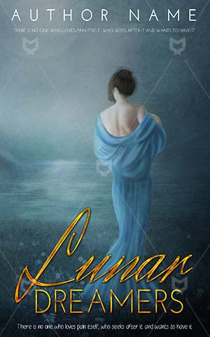 Fantasy-book-cover-Alone-woman-Frock-Blue-watercolor-paint-Girl-Young-Beauty-Moon-River