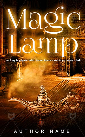 Fantasy-book-cover-Lamp-Aladdin-Magic-Symbol-design-Magical-Gold-Wishes