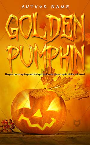Horror-book-cover-golden-halloween-pumpkin