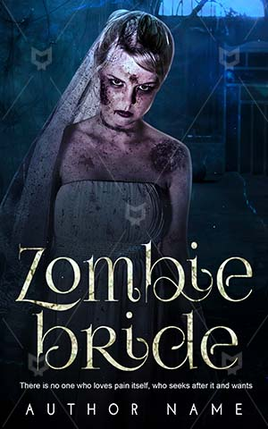 Horror-book-cover-Bride-Spooky-Scar-Girl-Zombie-Wedding-Looking-Alone-Dress-Scary-Halloween-design-Haunted