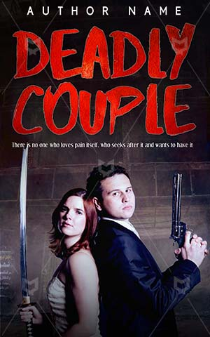 Horror-book-cover-Couple-Deadly-Dangerous-couple-Scary-story-Woman-Together-Sword-Dress-Weapon-Katana-Gun