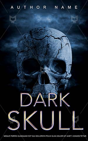 Horror-book-cover-Dark-Skull-Blue-Render-Stone-Sky-Head-Danger-Face-Halloween-Scary-Book-Cover