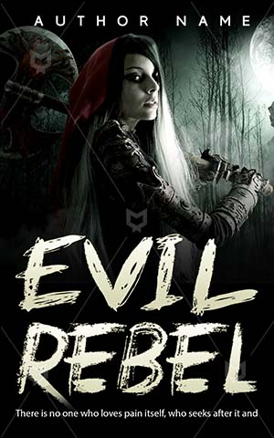 Horror-book-cover-Girl-Dark-Beautiful-Evil-Fantasy-Woman-Forest-Scary-Halloween-Lady-Moon-Warrior-Armor-Axe