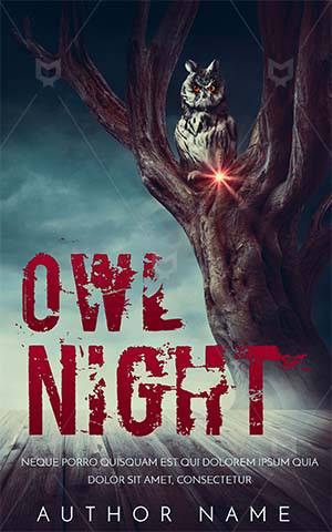 Horror-book-cover-Owl-on-tree-Halloween-scary-Night