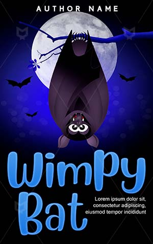 Horror-book-cover-Night-Cartoon-Wimpy-for-kids-Bat-Halloween-Dark-Blood-Illustrator-Bird-Scary-Animal-Cute