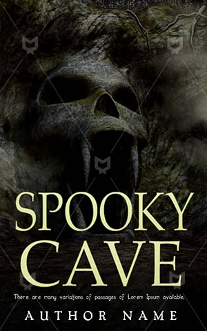 Horror-book-cover-Scary-Cave-Dark-Book-horror-Entrance-Background-Illustration-Mountain-Fog-Rock-Skull-Monster