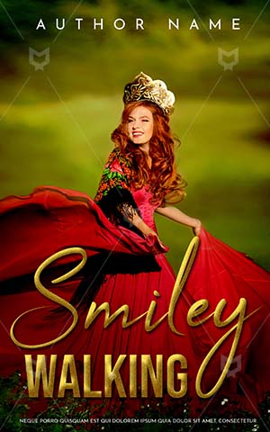 Romance-book-cover-Red-Headdress-Traditional-Russia-Dress-Russian-Princess-Smiley-Girl-Walking-Woman-Gold-Crown