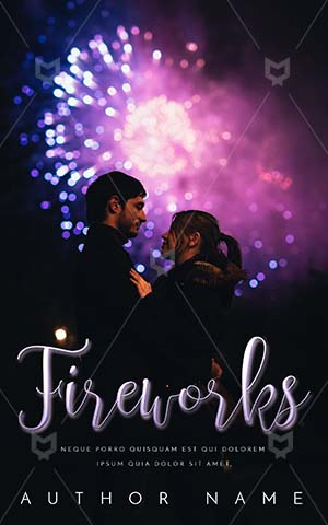 Romance-book-cover-Couple-In-Outdoor-Silhouette-Anniversary-Time-Fireworks-Street-kiss-Book-Covers