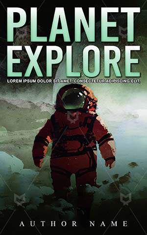 SCI-FI-book-cover-Artistic-Watercolor-Planet-Walking-Thriller-Science-fiction-Spaceman-Astronaut-Smoke-Sci-fi-Man